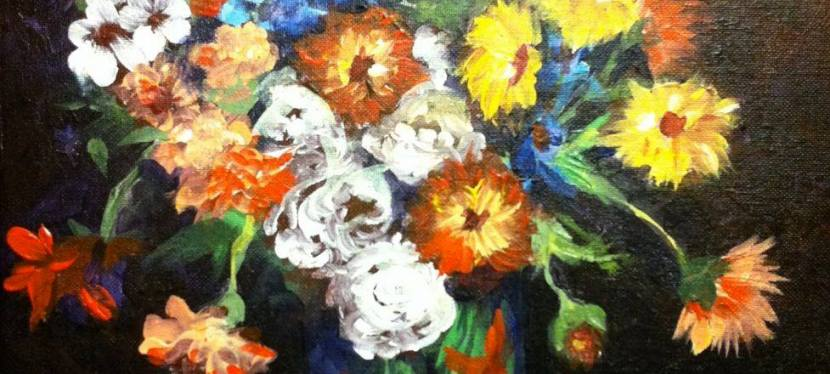 Acrylic Ode to Van Gogh's Vase with Zinnia's and Geraniums