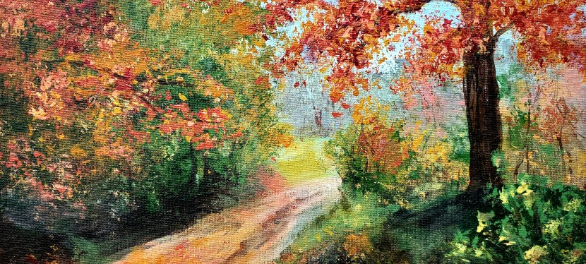 Acrylic Fall Country Road