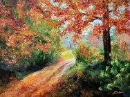 Fall Country Road 9x12 acrylic©Zan Savage Image is a Zan Savage original. Copying, altering, printing or redistribution of any images without written permission from the Artist is strictly prohibited.