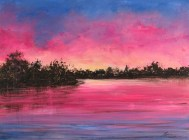 Lake Murray Sunrise 9x12 acrylic © Zan Savage Image is a Zan Savage original. Copying, altering, printing or redistribution of any images without written permission from the Artist is strictly prohibited.