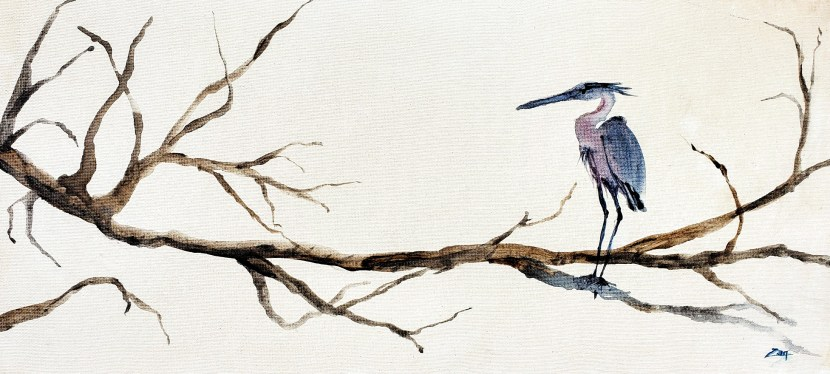 Sumi-e Great Blue Heron Waits