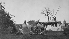 Arapaho camp with buffalo meat drying near Fort Dodge, Kansas, 1870. ARC Identifier 518892;  Credit: National Archives