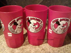 Souvenir mugs from the *original* Chef Mickey's Village Restaurant