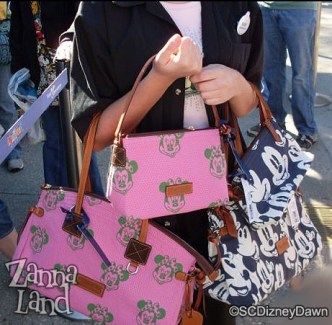 pink Minnie blue Mickey Dooney & Bourke purses