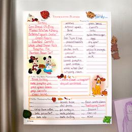 Disney Thanksgiving planner
