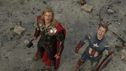THOR (Chris Hemsworth) (L) and CAPTAIN AMERICA (Chris Evans) (R)