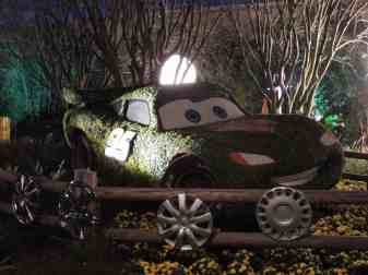 Lightning McQueen topiary at night