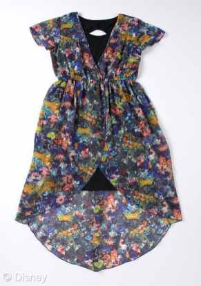 D-Signed Stylediaries Collection Water Color Floral Chiffon Wrap Hi Low Dress