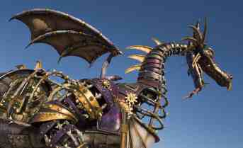 The Steampunk-inspired Maleficent Dragon has been designed in partnership with Tony Award-winner Michael Curry and stretches 53 feet in length and 26 feet above the parade route. (Kent Phillips, photographer)
