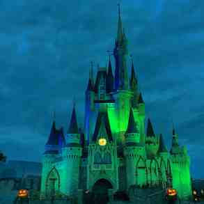The castle lighting is always eerily spooky on party nights