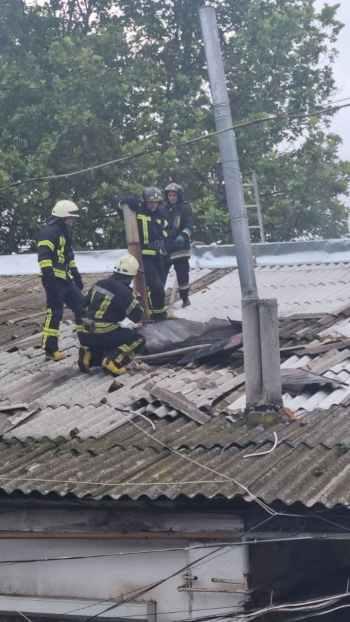 пожарные на крыше