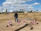 Campo Algodonero donde se encontraron los cuerpos de 8 mujeres. Las madres de las víctimas colocaron las cruces.