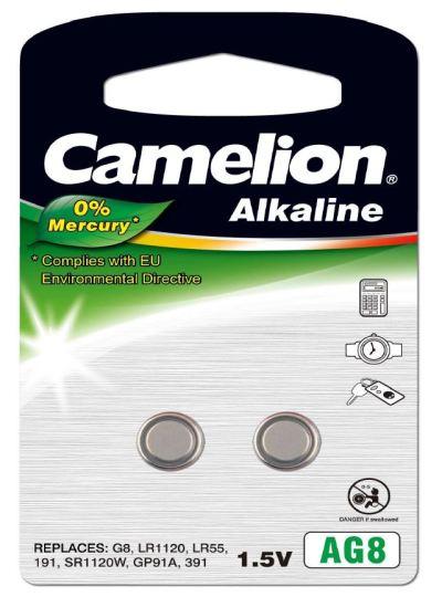 Pila Botón Alcalina LR55 1.5V 0% Mercurio (2 pcs) Camelion
