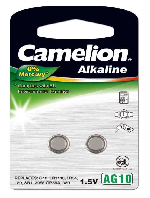 Pila Botón Alcalina LR54 1.5V 0% Mercurio (2 pcs) Camelion