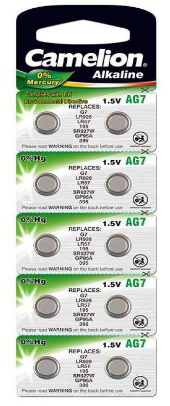 Pila Botón Alcalina LR57 1.5V 0% Mercurio (10 pcs) Camelion