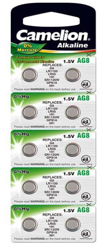 Pila Botón Alcalina LR55 1.5V 0% Mercurio (10 pcs) Camelion