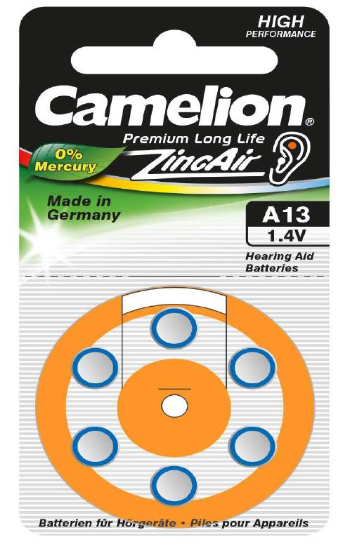 Boton Audifono A13/Naranja 1.4V 0% Mercurio (6 pcs) Camelion