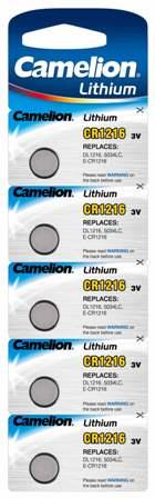 Boton Litio CR1216  3V (5 pcs) Camelion