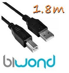 Cable USB 2.0 Impresora 1.8m Biwond