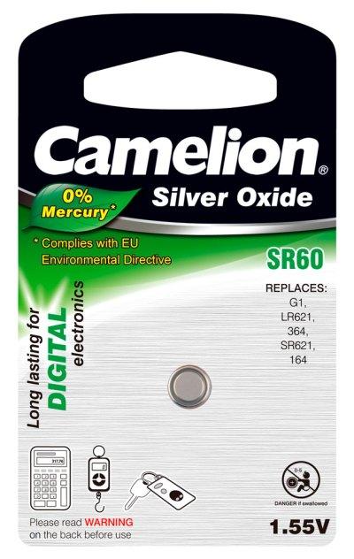 Boton Oxido plata SR60W 1.55V 0% Mercurio (1 pcs) Camelion