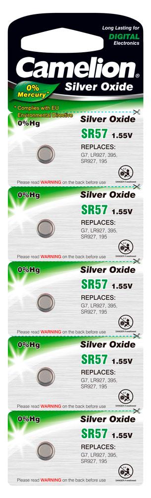 Boton Oxido plata SR57W 1.55V 0% Mercurio (5 pcs) Camelion