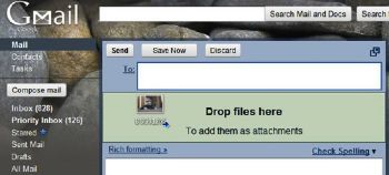 You can drag and drop files onto Gmail windows if using Chrome or Firefox.