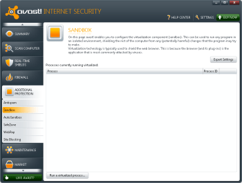 Avast Internet Security offers highly customizable sandboxing features.