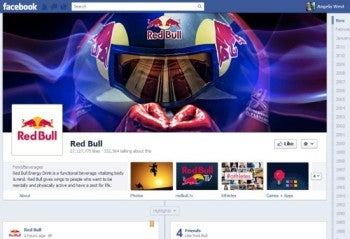 Red Bull's Facebook page, with Timeline