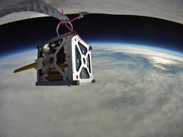 PhoneSat 1.0 during high-altitude balloon test. Photo courtesy of NASA Ames Research Center, 2011.