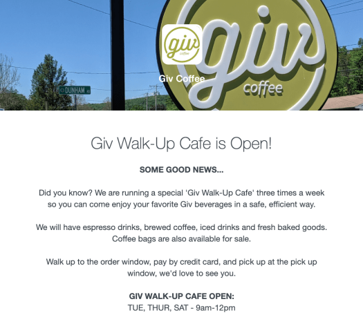 Giv Coffee Shop email telling me they're doing an outdoor take-out cafe