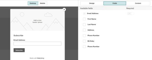 Création d'un formulaire dans Mailchimp.