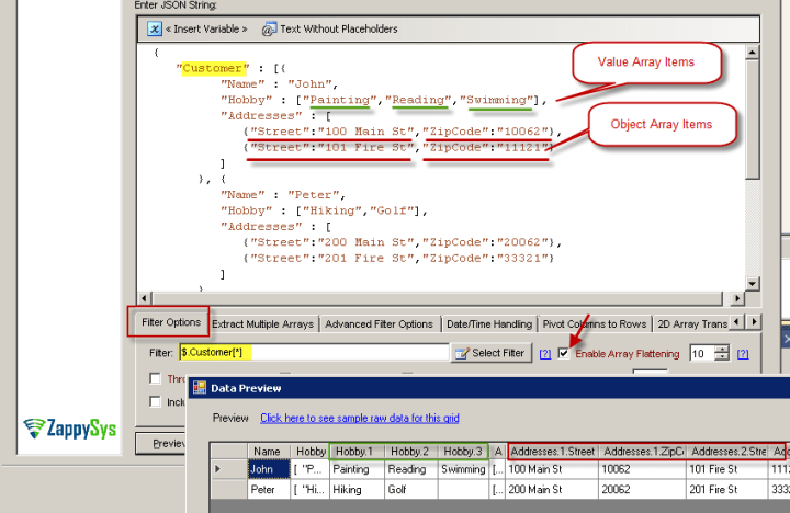 JSON Array Flattening Option in SSIS JSON Source
