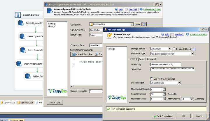Create new Amazon DynamoDB Connection in SSIS  - Use Amazon DynamoDB Execute SQL Task - List Tables Example