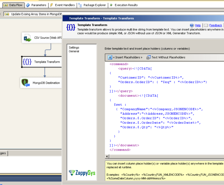 Using ZS Template Transform to specify custom JOIN condition for MongoDB Update (Array Items)