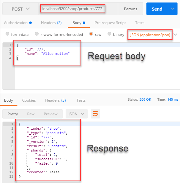 Use Postman to make a request to Elasticsearch and get a sample response to be used in JSON Parser Transform