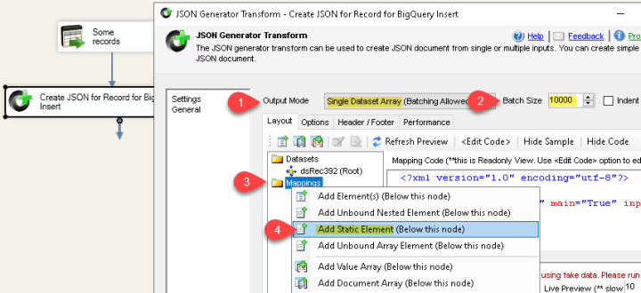 Generate JSON for Google BigQuery InsertAll API request - Batch 10000 rows in a single API call