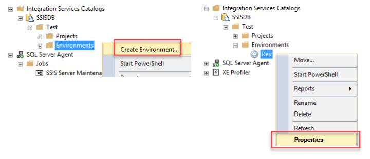 Creating and configuring SSIS Environment