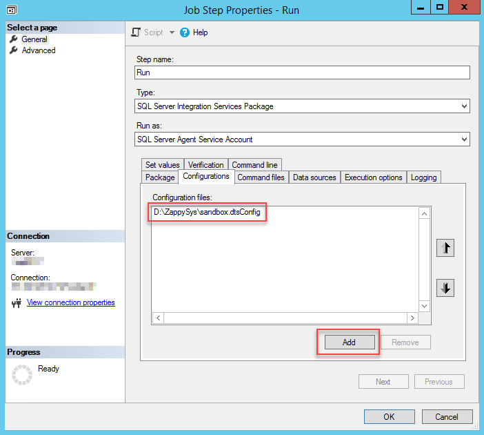 Using a package configuration file in SQL Server Agent Job