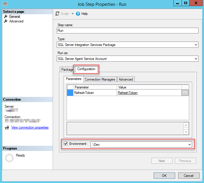 Using environment variable in SQL Server Agent Job