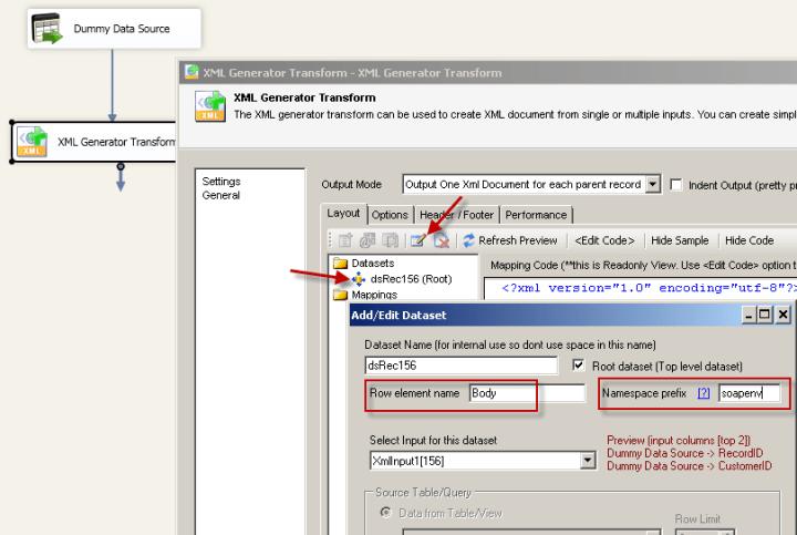 Configure SSIS XML Generator Transform - Change Row element name and prefix