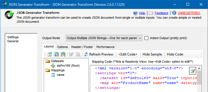 JSON Generator Transform configuration to create JSON from a SQL table
