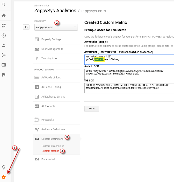 Google Analytics Custom Dimension / Metric - Create new, edit existing or view to obtain ID