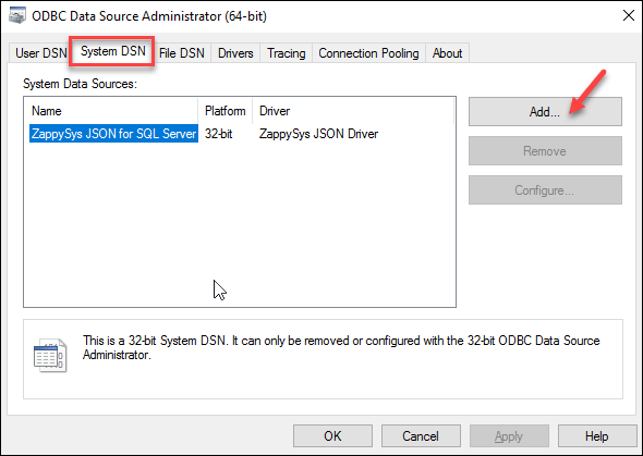 Create new ODBC DSN (System DSN Tab)