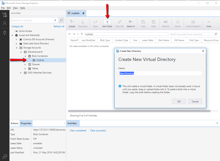 Creating the new Virtual Directory under Blob Container