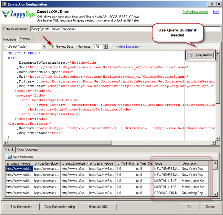 Preview SOAP API Response in ZappySys XML Driver