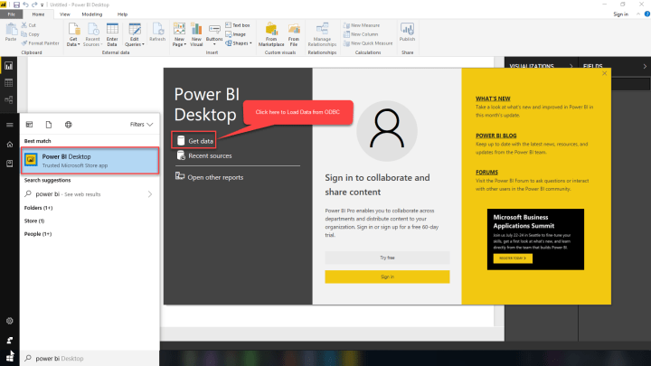Power BI : Click on Get Data for Loading from ODBC DSN