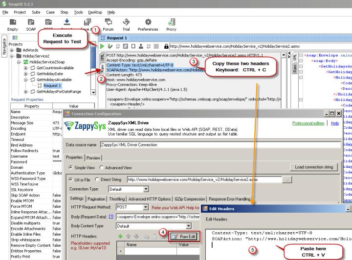Configure SOAP API Request Headers - ZappySys XML Driver