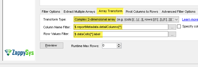 Configure - Advanced Array Transform (Read Salesforce Custom Reports Data in SSIS)
