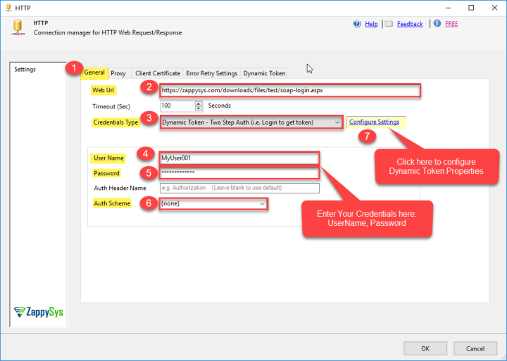 SSIS ZS HTTP Connection Manager: General Tab Configurations Settings