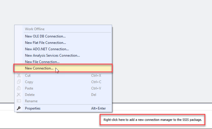 Connection Manager Window: Create New Connection